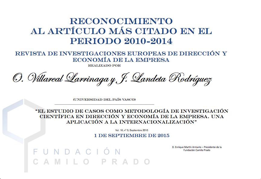 Artículo más citado 2010-2014 Revista de Investigaciones Europeas de Dirección y Economía de la Empresa