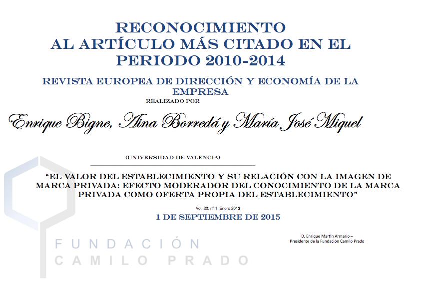 Artículo más citado 2010-2014 Revista Europea de Dirección y Economía de la Empresa
